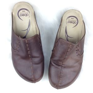 Abeo Brown Comfort Leather Cork Sandal Mules Clogs